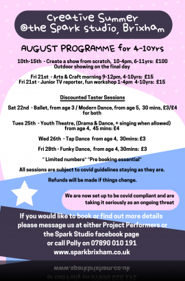Summer Arts Activities 4 - 10 years - 10 to 28 August 2020