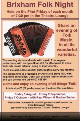 Brixham Folk Night - Friday 5 August 7.30 pm in the Theatre Lounge Bar