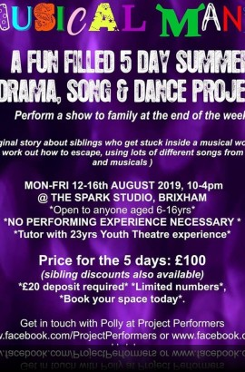 Musical Mania Summer Project Week - Monday 12 to Friday 16 August 10 - 4 at The Spark