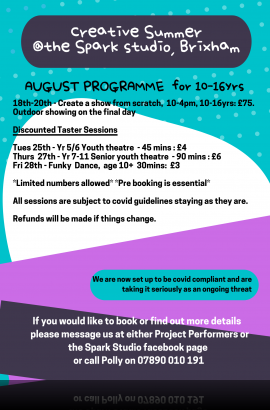 Summer Arts Activities 10 - 16 years - 18 to 27 August 2020