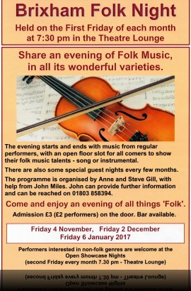 Brixham Folk Night - Friday 4 November 7.30 pm in the Theatre Lounge Bar