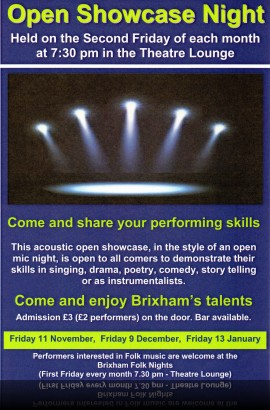 Open Showcase Night - Friday 13 January 8 pm