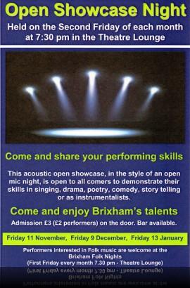 Open showcase Night - Friday 11 November - Doors open 7.30 pm