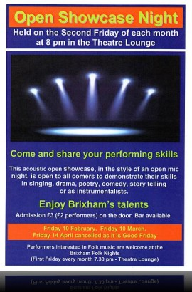 Open Showcase Night - Friday 10 March 8 pm