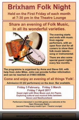 Brixham Folk Night - Friday 4 August 7.30 pm in the Theatre Lounge Bar