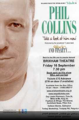 And Finally... Phil Collins presents the 'Take a look at him now' Tour 2016 - Friday 16 September 7.30 pm