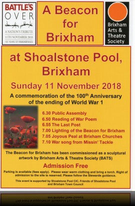 A Beacon for Brixham - 'Battle's Over' commemoration - Sunday 11 November at Shoalstone Pool from 6.30 pm
