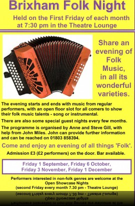 Brixham Folk Night - Friday 3 November 7.30 pm in the Theatre Lounge Bar