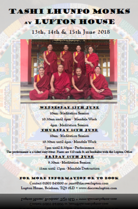 Tibetan Monks residency at Lupton House - Wednesday 13 to Friday 15 June 2018