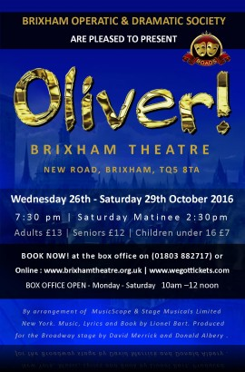 BOADS in 'Oliver' the musical - Saturday 29 October 2.30 pm