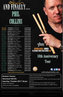 And Finally...Phil Collins - The 10th Anniversary Tour - Saturday 7 October 7.30 pm