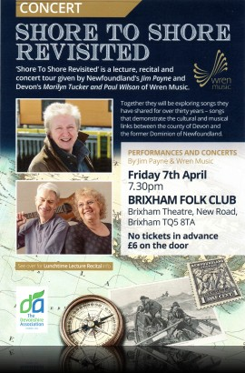 'Shore to Shore Revisited'  - Guest Night at Brixham Folk Club - Friday 7 April 7.30 pm