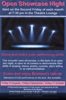 Open showcase Night - Friday 12 August - Doors open 7.30 pm