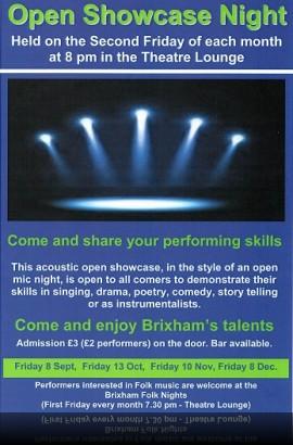 Open Showcase Night - Friday 8 September 8 pm