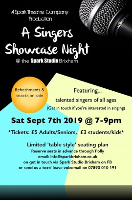 Singers Showcase Night - Saturday 7 September 7 pm at The Spark, Brixham