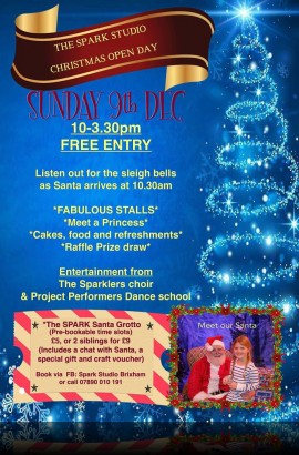 The Spark Christmas Open Day - Sunday 9 December 2018 10 am to 3 pm