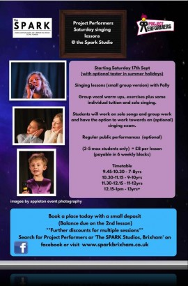 Vocal coaching at the Spark - Saturday 22 September from 9.45