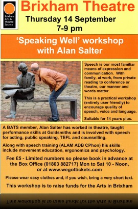'Speaking Well' workshop - Thursday 14 September 7 - pm