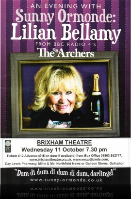 'An Evening with Sunny Ormonde' (aka Lilian Bellamy of 'Archers' fame) - Wednesday 11 October 7.30 pm