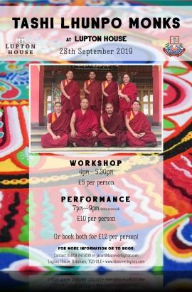 Tashi Lhunpo Tibetan Monks workshops & Performance - Saturday 28 September from 4 pm