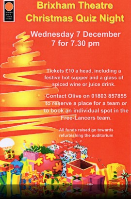 Brixham Theatre Christmas Quiz Night - Wednesday 7 December 7 for 7.30 pm